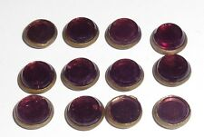 Antique Job Lot x 12 TINY 9mm Sparkly Iridescent Purple Glass Buttons