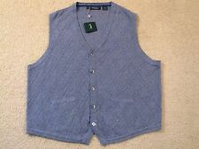 $165 BOBBY JONES COTTON/NYLON/SILK CARDIGAN VEST W/POCKETS -XXL -NEWwTAGS