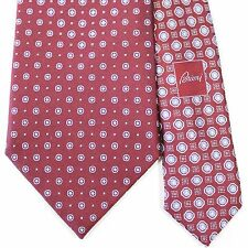 EXQUISITE Brioni Red with Light Purple Geometric Dot Tie 100% Silk Made in Italy