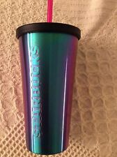 Starbucks Stainless Steel Tumbler cup Black PURPLE BLUE  Metallic 16 oz Straw