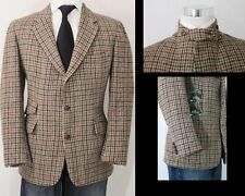 HARRIS TWEED Scottish Wool Ticket Pocket Leather Throat Latch Blazer Jacket 42R