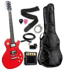 Raptor LP101 Flat Top Classic Electric Guitar Package - Hot Rod Red + Amp + Bag