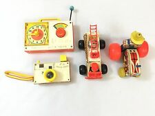 4 VINTAGE FISHER PRICE TOYS FIRE TRUCK #720, TRACTOR #329, RADIO #107 & CAM #464