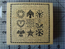 PSX wood mount rubber stamp American Folk Art Christmas Quilt 9 Christmas Icons