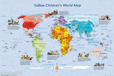 CHILDREN KIDS MAXI WORLD MAP COLLINS POSTER EDUCATION BRAND NEW STUDY AID