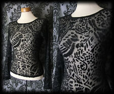 Gothic Black Devore Velvet Fitted REMAINS OF THE DAY Top 8 10 Victorian Vintage