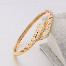 Special Hollow Ethnic Style 18k Gold Filled Clear Sapphire Women Bracelet Bangle