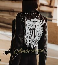 ZARA NEW FAUX LEATHER STUDDED SKULL PAINTED PRINTED JACKET SIZE M
