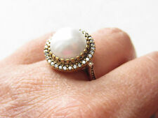 Pearl Topaz Turkish Ottoman 925 Sterling Silver Round Hurrem Sultan Ring Sz 7.75