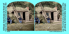 African Americans Bomb Proof Shelter Civil War SV Stereoview Stereocard 3D 01926