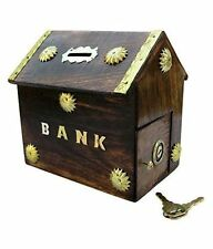 Wooden Handicrafted Antique Brown Indian Hut Coin Box Piggy Money Bank Gift Item