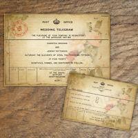 10 x PERSONALISED VINTAGE FLORAL TELEGRAM WEDDING INVITATIONS WITH RSVP
