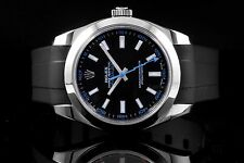 Rolex Stainless Steel Milgauss 116400, Black Dial with Blue Accent, Rubber Strap