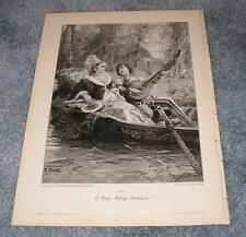 ANTIQUE RENAISSANCE COSTUME CARVED WOOD BOAT OAR ROMANCE WOMAN MAN LUTE PRINT