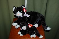 BOOTIES the Black CAT - Ty Beanie Baby and BUDDY -  MWMT - Silky Soft Cat