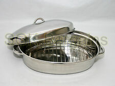 4.5L OVAL 37.5cm ROASTER DISH ROASTING OVEN TRAY CASSEROLE PAN WITH RACK & LID