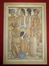 DEWA PUTU BEDIL Indonesia Acrylic Painting, Ubud BALI Natives ~ Signed