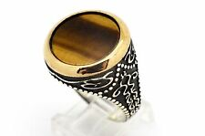 TIGER'S EYE STERLING SILVER BRONZE MEN'S WOMEN'S TURKISH OTTOMAN RING SIZE 11.25