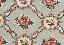 Waverly Fabric Mary Rose Beige Blue Rose Teal Cotton  Drapery Upholstery