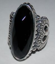 Carolyn Pollack Heart Of Texas Faceted Black Onyx Sterling Silver Ring Size 6