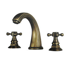 Antique Vintage Two Handles Brass Finish Brass Bathroom Sink Faucet  Widespread