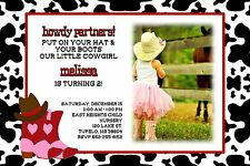 Cowboy Cowgirl Birthday Party Invitation Add Photo Any Colors Boots Horse Hat