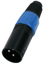 XLR Male Black Connector 3 pole with blue marker ring