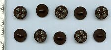 LEGO x 10 D Brown Minifig, Shield Round with Stud and Ring Around Edge w Dragon