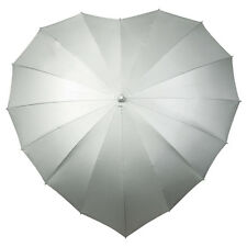 Silver Heart Shaped Umbrella Perfect For Weddings Or Romantic Gift UV Protection