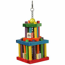HAPPYPET BUILDING BLOCK MAZE COLOURFUL WOODEN LARGE PARROT CAGE TOY