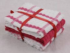100% Cotton Kitchen Terry Tea Towels Dark Pink and White Checked Pack of 6