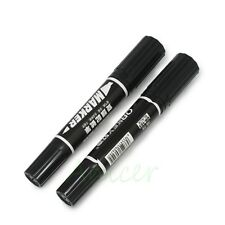 2pcs Black DUAL USE Thick (7mm) + Thin (1.5mm) Both Ends Permanent Marker Pen