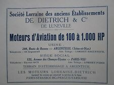 1922 PUB LORRAINE DIETRICH MOTEUR AVIATION AERO ENGINE ORIGINAL FRENCH AD