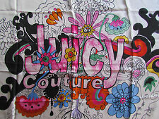"NWD Juicy Couture Scarf Watercolor Flower Power Boho 36"" Silk Square"