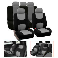 5-Seats Seat Cover Mesh Polyester Front+Rear Cover Gray Color Fit For Sedan SUV