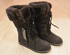 NIB Emu Australia Women's Featherwood Hi Merino Wool Boots Chocolate Brown Sz 6M