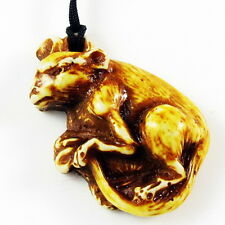 Zodiac Bone handmade Necklace pendant Carved w/ bead cord RAT MOUSE emboss NEW