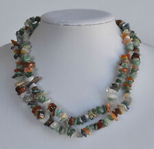 VINTAGE ALL GEMSTONE NECKLACE CHUNKY CHIPS GREEN JADE AMETHYST ROCK CRYSTAL