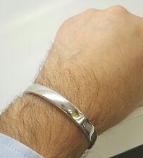 14k white gold men/women plain hinged bangle bracelet 16.8 grams