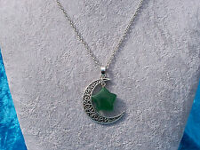 Bewitching Tibetan Silver Filigree Crescent Moon Natural Green Stone Necklace