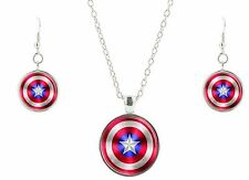 Marvel Comic Captain America Shield Glass Domed Pendant Necklace and Earring Set