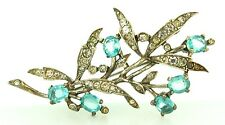 Vtg Philippe TRIFARI Sterling Aqua Rhinestone FLORAL SPRAY Figural Brooch Pin