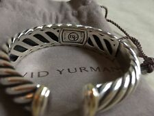 David Yurman hinged cuff bracelet 925 sterling & 18K yellow gold 750, 5/8 wide