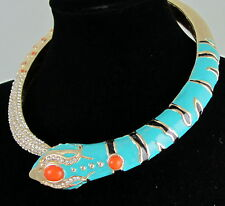 Vintage Unusual HUGE MASSIVE Snake Goldtone Enamel Statement Collar Necklace