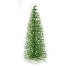 Darice Bottle Brush Tabletop Sisal Tree Wood Base - Green Glitter Snow Tips 8""