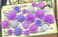 20pcs - Resin Flower Cabochons - Purple
