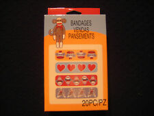 "SOCK MONKEY - Bandages - 20 Count - ""Band Aid""  4 Styles"