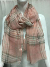 PLAID PATTERN LIGHT WEIGHT ALL SEASON WEAR SCARF WRAP COLOR PINK