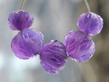 Natural African Amethyst Frosted Hand Carved Fancy Semi Precious Gemstone Beads