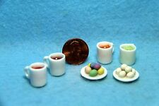 Dollhouse Miniature Easter Egg Dying Cups & Eggs on Plates / Kit ~ IM65586